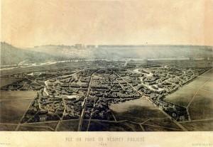 Vue du Parc du Vésinet projeté-Dessin d'Olive (1858 )